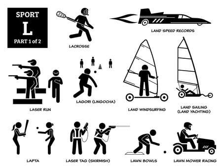 Sport games alphabet L vector icons pictogram. Lacrosse, land speed records, laser run, lagori, land windsurfing, land sailing yachting, lapta, laser tag skirmish, lawn bowls, and lawn mower racing.
