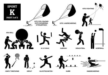 Sport games alphabet K vector icons pictogram. Kite foil racing, kite landboarding, kite fighting, kin-ball, ki-o-rahi, kurash, krachtbal, korfball, knife throwing, krolf, kubb, and kneeboarding.