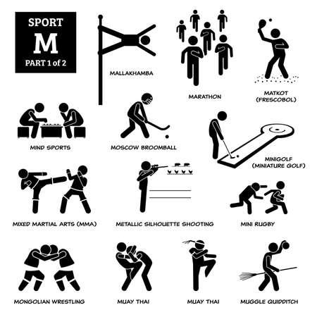 Sport games alphabet M vector icons pictogram. Mallakhamba, marathon, matkot, frescobol, mind sports, Moscow broomball, mini golf, miniature golf, MMA, mini rugby, muay thai, and metallic shooting.