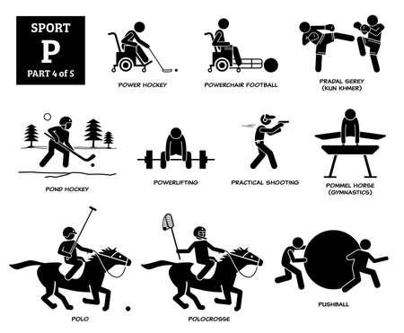 Sport games alphabet P vector icons pictogram. Power hockey, powerchair football, pradal serey, pond hockey, powerlifting, practical shooting, pommel horse, horse polo, polocrosse, and pushball. Иллюстрация
