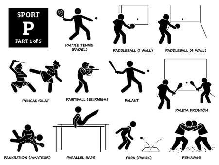Sport games alphabet P vector icons pictogram. Paddle tennis, padel, paddleball, pencak silat, paintball skirmish, palant, paleta fronton, pankration amateur, parallel bars, park paerk, and pehlwani. Иллюстрация