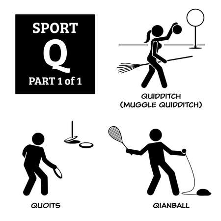 Sport games alphabet Q vector icons pictogram. Quidditch, muggle quidditch, quoits, and qianball.