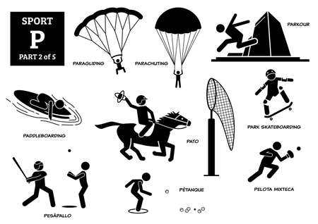 Sport games alphabet P vector icons pictogram. Paragliding, parachuting, parkour, paddleboarding, pato, park skateboarding, pesapallo, petanque, and pelota mixteca.