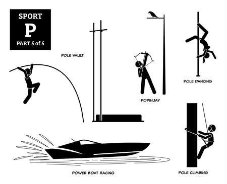 Sport games alphabet P vector icons pictogram. Pole vault, popinjay, pole dancing, power boat racing, and pole climbing. Иллюстрация