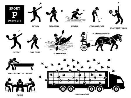 Sport games alphabet P vector icons pictogram. Peteca, pickleball, picigin, pitch and putt, platform tennis, pitton,    playboating, pleasure driving, pool, poker, and pigeon racing. Иллюстрация