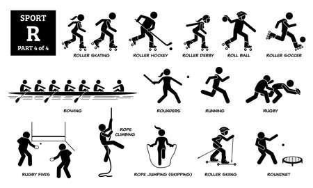 Sport games alphabet R vector icons pictogram. Roller skating, roller hockey, derby, roll ball, soccer, rowing, rounders, running, rugby, rugby fives, rope climbing, skipping, skiing, and roundnet.