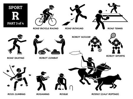 Sport games alphabet R vector icons pictogram. Road bicycle racing, bowling, tennis, skating, robot combat, robot soccer, sport, rock climbing, rogaining, roque, and rodeo calf roping.