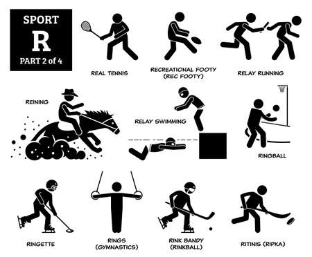 Sport games alphabet R vector icons pictogram. Real tennis, recreational footy, relay running, reining, relay swimming, ringball, ringette, rings gymnastic, rink bandy, and ritinis.