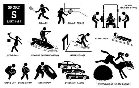 Sport games alphabet S vector icons pictogram. Squash, squash tennis, squat, stoolball, standup paddleboarding, steeplechase horse, street luge, stone lift carry, strongman, and stock car racing.