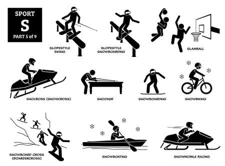 Sport games alphabet S vector icons pictogram. Slopestyle skiing snowboarding, slamball, snocross, snooker, snowboarding, snowbiking, snowboard cross, snowboating, and snowmobile racing. Иллюстрация