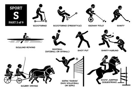 Sport games alphabet S vector icons pictogram. Scootering, scooter freestyle,  polo, shinty, sculling rowing, seatball, shot put, shinty hurling, scurry driving, sepak takraw, and show jumping.