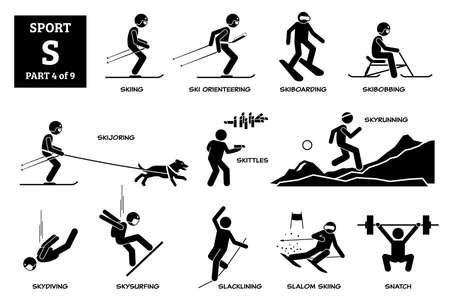 Sport games alphabet S vector icons pictogram. Skiing, ski orienteering, skiboarding, skibobbing, skijoring, skittles, skyrunning, skydiving, skysurfing, slacklining, slalom skiing, and snatch lifting Иллюстрация
