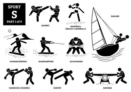 Sport games alphabet S vector icons pictogram. Sambo, sandball, beach handball, sailing, sandboarding, sandsurfing, schwingen, sanshou, sanda, savate, and sawing.