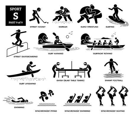 Sport games alphabet S vector icons pictogram. Street hockey, sumo, surfing, street skateboarding, surf kayaking, surfboat rowing, swish, swamp football, synchronized swimming diving, and skating. Иллюстрация