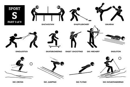 Sport games alphabet S vector icons pictogram. Showdown, shuffleboard, sikaran, singlestick, skateboarding, skeet shooting, ski archery, skeleton, ski cross, ski jumping flying, and mountaineering. Иллюстрация
