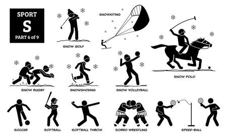 Sport games alphabet S vector icons pictogram. Snow golf, snowkiting, snow rugby, snowshoeing, snow volleyball, snow polo, soccer, softball, softball throw, sorro wrestling, and speed-ball.