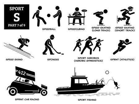 Sport games alphabet S vector icons pictogram. Speedball, speedcubing, speed skating, speed skiing, spongee, aerobic gymanstic, sprint athletic, sprint car racing, and sport fishing.