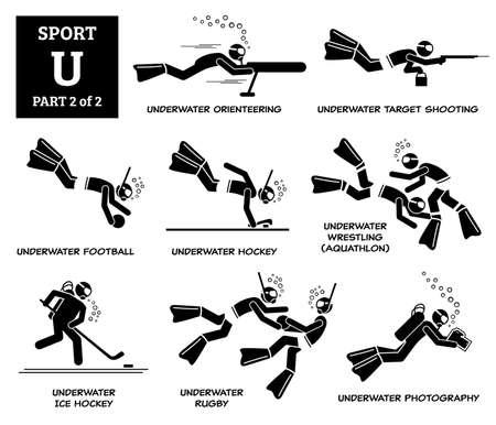 Sport games alphabet U vector icons pictogram. Underwater orienteering, target shooting, underwater football, hockey, wrestling, underwater ice hockey, rugby, and photography. Иллюстрация