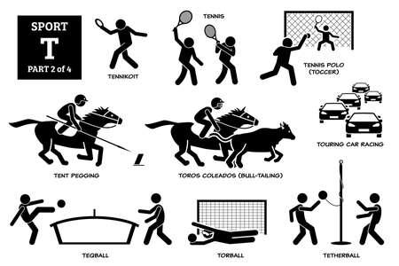 Sport games alphabet T vector icons pictogram. Tennikoit, tennis, tennis polo, toccer, tent pegging, toros coleados, touring car racing, teqball, torball, and tetherball. Иллюстрация