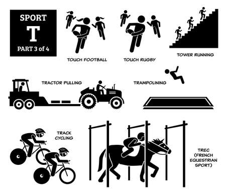 Sport games alphabet T vector icons pictogram. Touch football, touch rugby, tower running, tractor pulling, trampolining, track cycling, and TREC French equestrian sport.