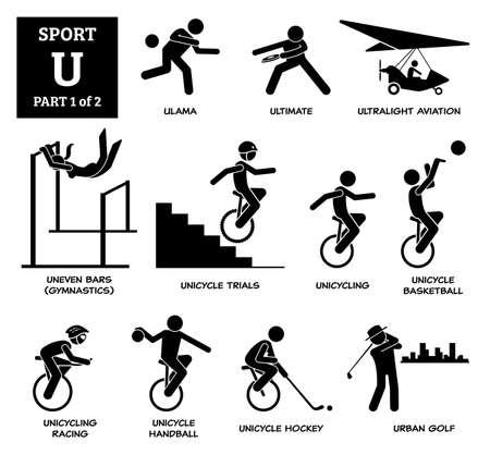 Sport games alphabet U vector icons pictogram. Ulama, ultimate, ultralight aviation, uneven bars gymnastic, unicycle trials, unicycling, unicycle basketball, racing, handball, hockey, and urban golf. Иллюстрация