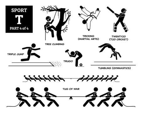 Sport games alphabet T vector icons pictogram. Tree climbing, tricking martial arts, twenty20, triple jump, trugo, tumbling gymnastic, and tug of war.
