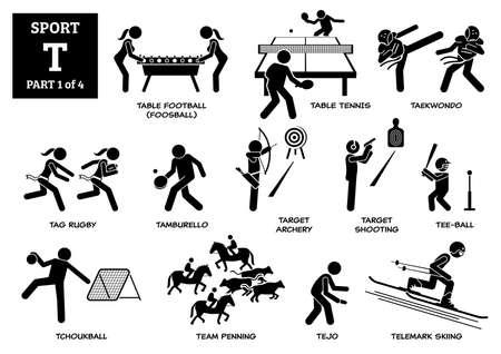 Sport games alphabet T vector icons pictogram. Table football, table tennis, taekwondo, tag rugby, tamburello, target archery, shooting, tee-ball, tchoukball, team penning, tejo and telemark skiing. Иллюстрация