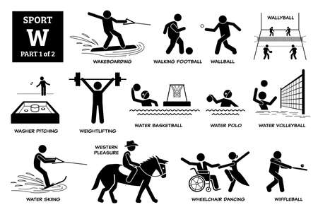 Sport games alphabet W vector icons pictogram. Wakeboarding, walking football, wallyball, washer pitching, water basketball, polo, volleyball, skiing, western pleasure, wheelchair dance, wiffleball. Иллюстрация