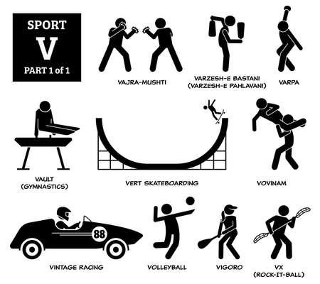 Sport games alphabet V vector icons pictogram. Vajra-mushti, varzesh-e Bastani, varpa, vault gymnastic, vert skateboarding, vovinam, vintage racing, volleyball, vigoro, and vx rock-it-ball.