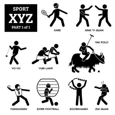 Sport games alphabet X, Y, and Z vector icons pictogram. Xare, xing yi quan, yo-yo, yubi lakpi, yak polo, yukigassen, zorb football, zourkhaneh, and zhi quan.