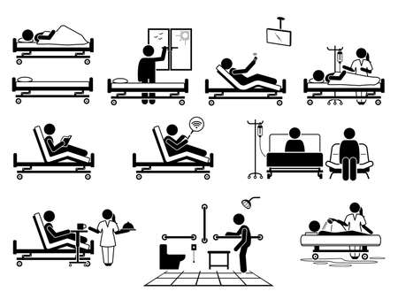 Patient at hospital room with many facilities stick figure pictogram icons. Vector illustrations of patient, hospital bed, window, television, nurse, wifi, visitor, food serving, toilet and bathroom. Иллюстрация