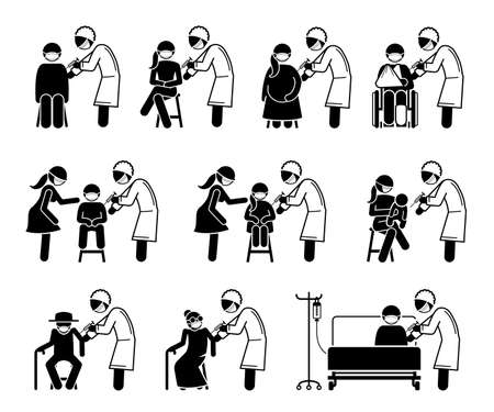 Vaccine vaccination injection for people stick figure pictogram icon. Vector illustrations depict doctor or nurse giving vaccine injection to man, woman, pregnant, children, baby, elderly and sick.