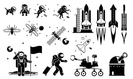 Modern History Space Age and Exploration. Vector illustrations depict human sending dog, monkey, and fruit fly to space. Human astronaut and rocket flying to space and landing at moon. Иллюстрация