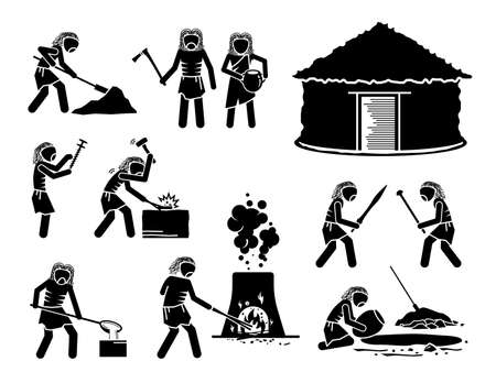 Prehistory Prehistoric Copper Stone Age Ancient Human. Vector illustrations depict primitive human people from copper stone age of the Chalcolithic or Eneolithic time period era.