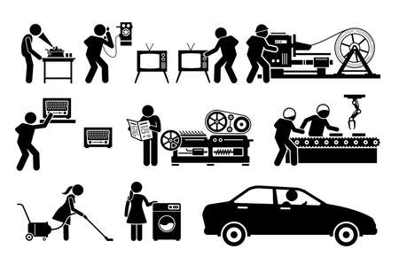 Modern History Machine Age Technologies. Vector illustrations depict phonograph record player, old telephone, TV, metal roller machine, high speed printing presses, radio, and factory assembly line. Иллюстрация