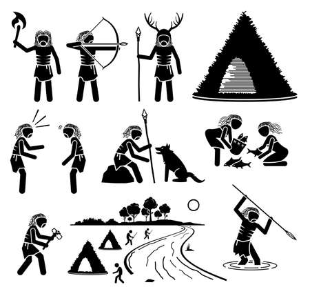 Prehistory Prehistoric Mesolithic Middle Stone Age Ancient Human. Vector illustrations depict primitive human people from middle stone age of the Mesolithic time period era.
