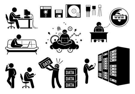 Modern History Information Age, Multimedia Age, and Social Age. Vector illustrations depict old diskette, transistor, people using computer, surfing Internet, data center server, and information data.