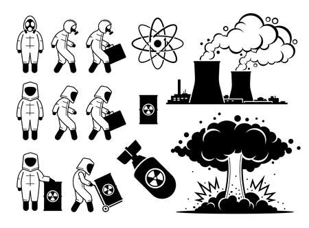 Modern History Atomic Age or Nuclear Age. Vector illustrations depict nuclear power plant, hazmat suit worker, radioactive waste, atom nuclear bomb, and big mushroom cloud explosion.