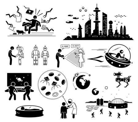 Future Futuristic World Science Fiction. Vector illustrations depict human technologies and scene in the far future.