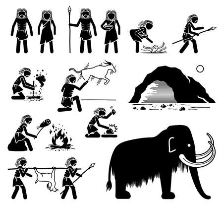 Prehistory Prehistoric Paleolithic Old Stone Age Ancient Human. Vector illustrations depict primitive caveman people from old stone age of the paleolithic time period era.