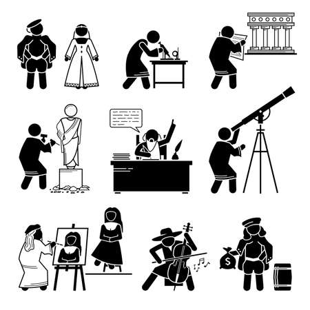 Late Middle Ages Renaissance People Human Civilization History. Vector illustrations depict the Renaissance period of the Late Middle Ages in the 15th and 16th century.