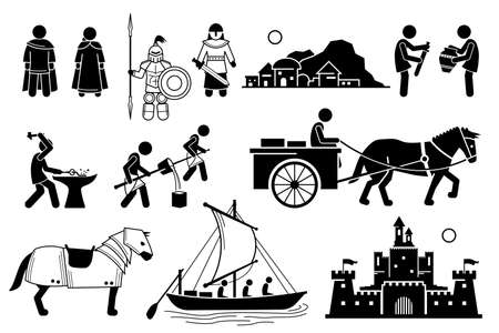 Ancient History Iron Age Medieval Human Civilization in Middle Age. Vector illustrations depict human technology development during the Iron Age and medieval people from the Middle Age.