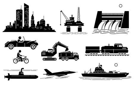 Modern History Machine Age, Age of Oil and Jet Age. Vector illustration depicts city skyscraper, oil platform, hydroelectric dam, vintage car, bike, earthmover, train, submarine, jet, and warship.