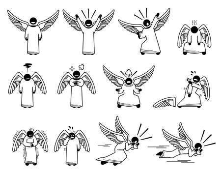 God angel feelings, emotions, and actions stick figure pictogram icons. Vector illustrations depict angel feeling happy, sad, angry, scared, pain, and shouting.