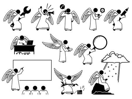 God angel using and holding different kind of objects stick figure pictogram icons. Vector illustrations depict angel holding and using spanner, phone, pencil, book, computer, guitar, and writing. Иллюстрация