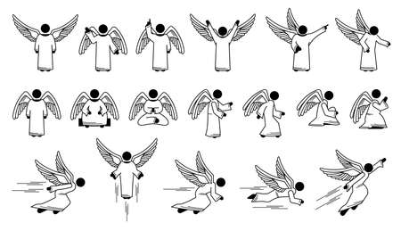 God angel basic poses and actions character designs stick figure pictogram icons. Vector illustrations depict a set of angels with different poses, positions, actions, and movements. Иллюстрация