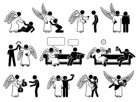 God angel and human stick figure pictogram icons. Vector illustrations depict angel helping, rescue, save, support, giving advice, love, and romance with human.