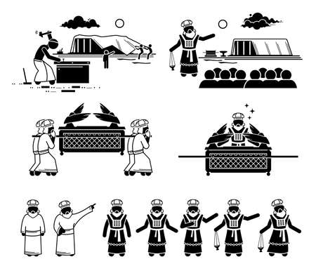 Ark of the Covenant construction and Christian high priest pictogram and icons. Vector illustrations of the Ark of Covenant from Hebrew Bible with people building and carrying it. Иллюстрация