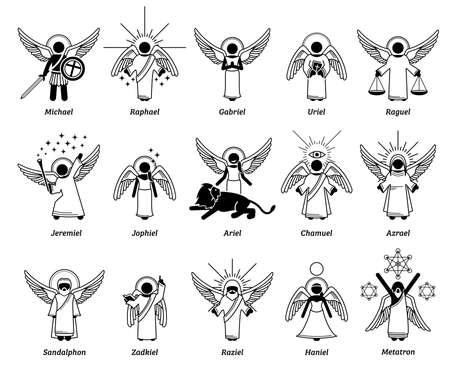 God archangels, angels, cherub cherubim, and saint. Vector illustrations depict list of Christian archangels or angels from heaven.
