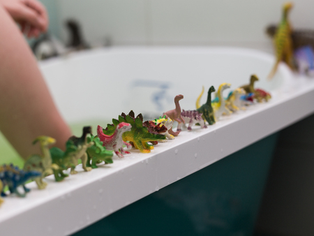 a lot of different toy dinosaurs at the bathroom